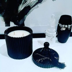Black Crystal Glass Candle
